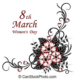 Womens day greeting card with beautiful flowers on white background.