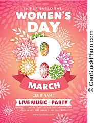 8 March. Creative and cute flyer or poster layout with beautiful spring flowers, drawn with style paper art, for Womens Day Party celebration. Vector illustration.
