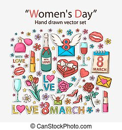 Womens day icons - Vector hand drawn set with shadow.Womens...