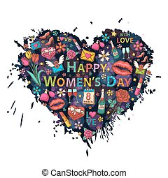 Happy Womens Day on the heart background of colorful blots, inks, themed design with flowers, a box of chocolates, ribbon, rose, perfume, a glass of wine, lipstick, heart, email, lip imprint, calendar, march