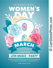 8 March. Poster, banner or flyer design with beautiful spring flowers, drawn with style paper art, for Womens Day Party celebration. Vector illustration.