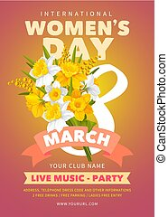 Womens Day party flyer - 8 March. Poster, banner or flyer...