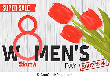 Womens Day sale design for web banner, flyer or background composition with red tulips.