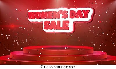 Women's Day Sale Text Animation Stage Podium Confetti Loop...