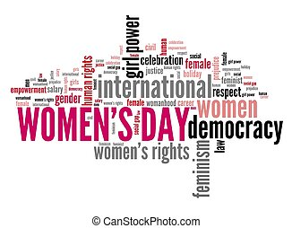 Women's Day sign - Women's Day keywords - feminism concept ...