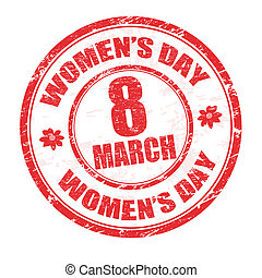 Women's day stamp - Red grunge rubber stamp with the text...