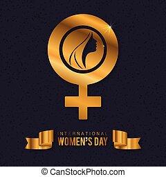 Women's day typogrpahic card with dark pattern background