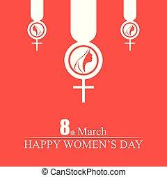 Women's day typogrpahic card with orange background