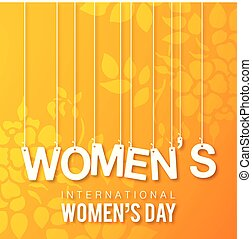 Women's day typogrpahic card with yellow background