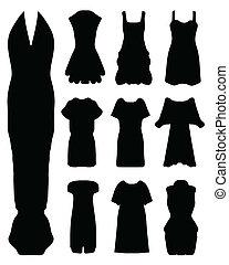 women's dress, - Black silhouettes of women's dress, vector