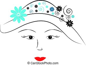 Womens eye with hat on white background