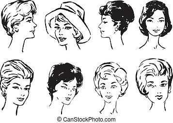 Women's faces in middle age. Vector illustration of a format...