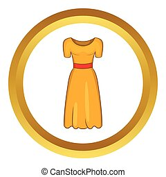 Womens fancy dress vector icon in golden circle, cartoon...