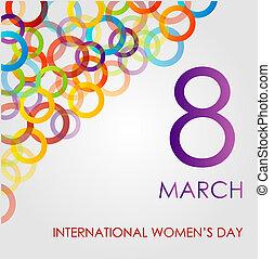 womens, farverig, dag, ecard