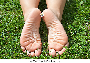 Women's feet in the grass.