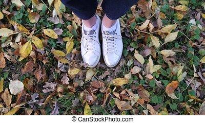 Women's feet in white stylish sneakers on beautiful fallen ...