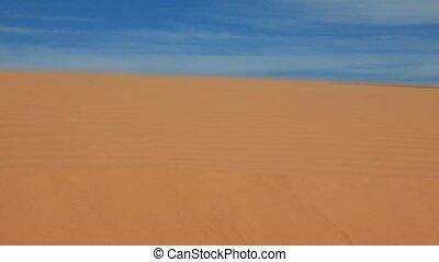 Women's feet walking on a sandy desert - Barefoot women's...