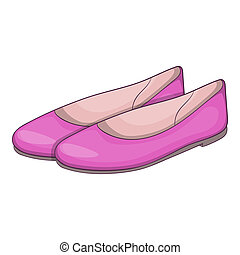 Womens flat shoes icon, cartoon style