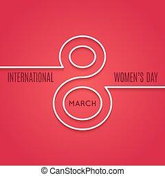 womens, giorno, 8, marzo, linea, concetto, su, sfondo rosso