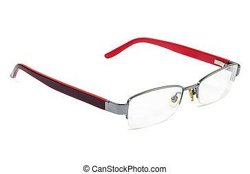 Womens glasses on white background