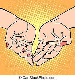 Womens hand heart shape love romance Valentines day pop art retro style