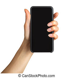 Women's hand showing black smartphone, concept of mobile shopping