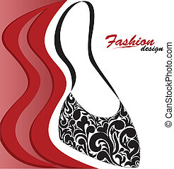 Women's handbag - abstract red and white background with a...