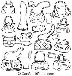 Women's handbags. Hand drawn Vector Set 1.