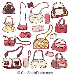 Women's handbags. Hand drawn Vector Set