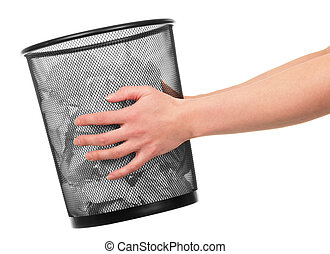 Women's hands are holding  bucket with paper isolated.