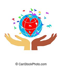 Women's hands hold the globe with a heart.