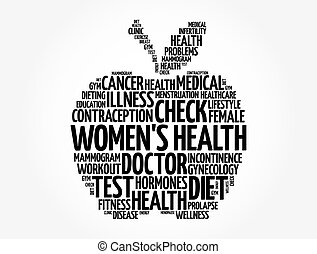 Women's Health apple word cloud collage, medical concept background