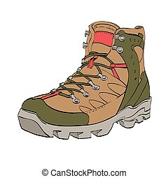 Womens Hiking shoes, color vector illustration isolated