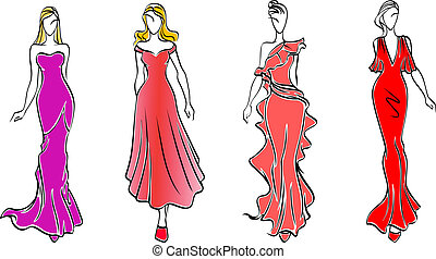 Womens in evening dresses for fashion industry design
