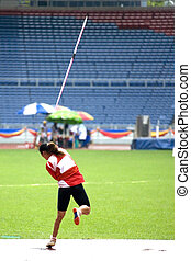 Women's Javelin Throw for Disabled - A participant in a...