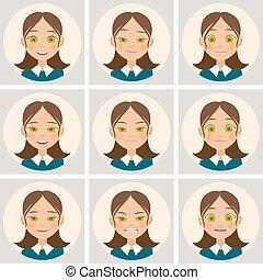 womens, különböző, vektor, emotions., arc