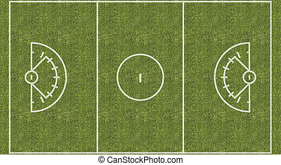 An overhead view of a womens lacrosse playing field with white markings painted on grass.