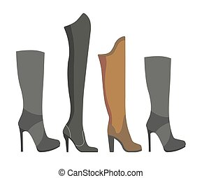 Womens leather and suede boots on high heels with different...