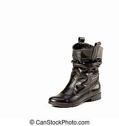 Womens leather boots in black on a white background