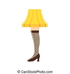 Womens leg lamp. Funny vintage lampshade with fishnet stocking and stiletto heel. Vector illustration.