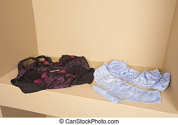 Display if luxury womens lingerie on display shelf in retail fashion shop