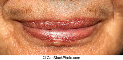Women's lips. Mustache on upper lip. macro.