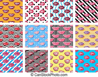 Womens Lips Seamless Pattern Vector Illustration - Womens...