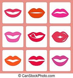 Women's lips vector icon set