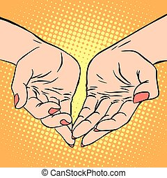 womens, mano, forma corazón, amor, romance, día de...