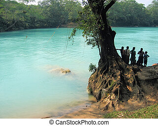 womens, olhar, a, rio, agua, clara, méxico