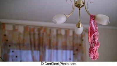 Women's panties on the chandelier