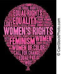 womens, parola, nuvola, diritti