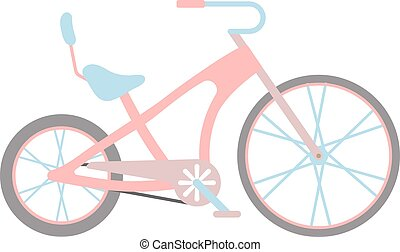 Womens pink bicycle isolated on white background