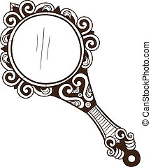 Women's pocket mirror. - Sketch isolated on white . Eps 10 ...